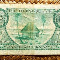 Western Samoa 10 shillings 1963 (134x74mm) reverso
