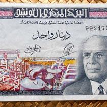 Túnez 1 dinar 1965 anverso