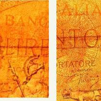 """Italia 100 liras 1938 """"águila romana"""" filigranas"""