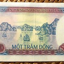 Reverso del billete de 100 dong de Vietnam de 1981 con la vista aérea de la Bahía de Halong