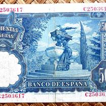 España 500 pesetas 1951 reverso