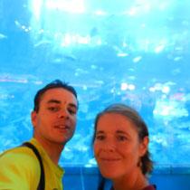 Un enorme aquarium dans le grand cemtre commercial de Dubai