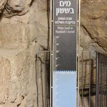 Niveau de l'eau dans le tunnel ayant permis aux troupes de David d'envahir la cite, et de faire des reserves d'eau a l'interieur des ramparts.