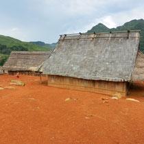 Les maisons typiques avec la toiture en herbe