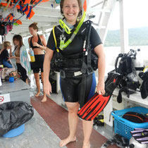 Maria radieuse au retour de sa premiere plongee