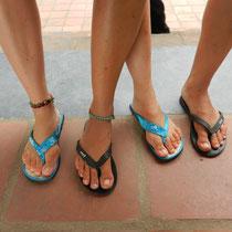 les pieds de voyageuses... en claquettes bien sur!