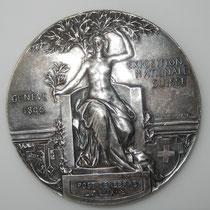 médaille de l'exposition nationale Suisse Genève 1896 .bronze argenté  62 mm . par A  Meyer et  Huges Bovy . prix 80 euros