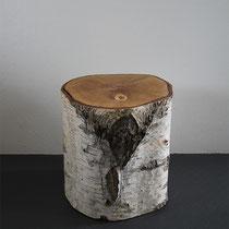 Hocker, Birke, Baumstamm, Holz, massiv, Tilmann Bohne, Holzsteinpapier