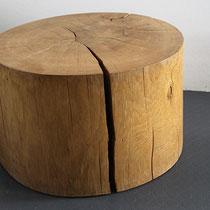 Hocker, Baumstamm, Holz, massiv, Tilmann Bohne, Holzsteinpapier