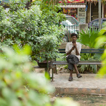 Texting in the park - Defence Colony Market
