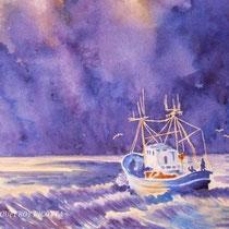 Orage à Ouessant - Bretagne - Aquarelle réalisée d'après Thierry de Marichalar