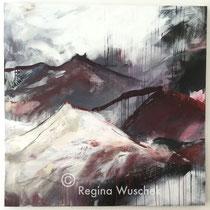 """""""Meine Berge"""", 120x120x4, Acryl und Pigment auf Leinwand, Regina Wuschek"""