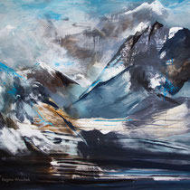 Berge, Acryl und Pigment auf Leinwand, 120x140, Regina Wuschek