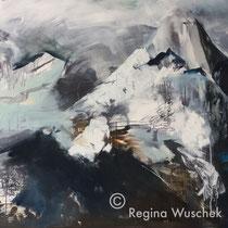 Bergwelt, Acryl und Pigment auf Leinwnad, 120x140, Regina Wuschek