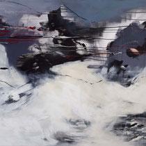 Berglandschaft, Acryl und Pigment auf Leinwand, 100x120, Regina Wuschek