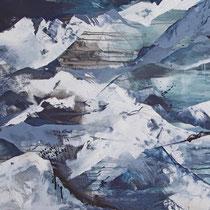 Gebirgig, Acryl und Pigment auf Leinwand, 100x120, Regina Wuschek