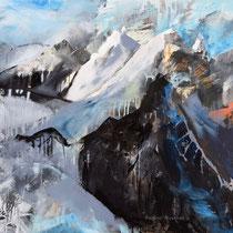 Bergwelt, Acryl und Pigment auf Leinwand, 100x120, Regina Wuschek