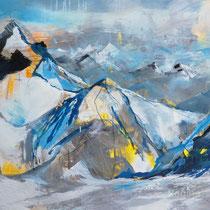 """""""Zugspitzplatt"""", 80x120x4, Pigment und Acryl auf Leinwand, Regina Wuschek"""