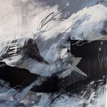Berg abstrakt, Acryl und Pigment auf Leinwand, 120x100, Regina Wuschek
