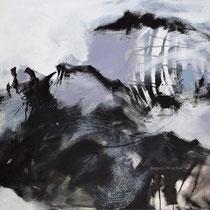 Ohne Titel, Acryl und Pigment auf Leinwand, 100x120, Regina Wuschek