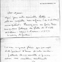 3 - Note manuscrite de Louis de Funès confirmant sa présence dans les années 1920 à Villiers-sur-Marne (source : archive du musée Emile Jean à Villiers-sur-Marne)