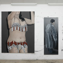 'Epaulette' 200x160cm and 'Recluse' 180x70cm (both oil on canvas shot in studio prior to 'Passenger'), 2006