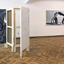 installation view of 'Kilimli Konak' folding screen and 'Postcard' 110 x 230 cm oil on canvas, 2014