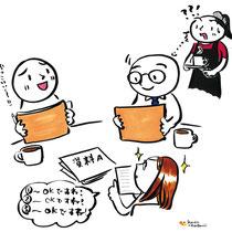 ビジネス絵本3 制作日記 お店で会議中