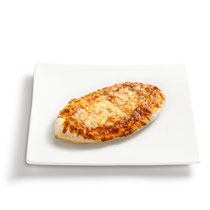 knuspriger Boden, Tomatensoße, Mozzarella, aromatische Gewürze