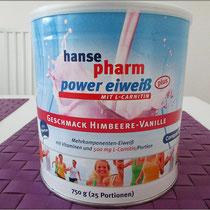 Das 'power eiweiß plus Himbeere' von Hansepharm im Test.