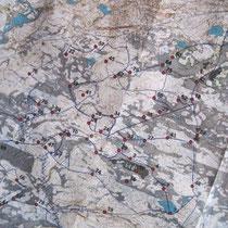 """Die Karte vom """"internationalen"""" Schlittenhunde-OL: es hat 5 Teilnehmer, davon sind 2 Finnen und 3 Schweizer (Vroni, Üelu und Chrigu)"""