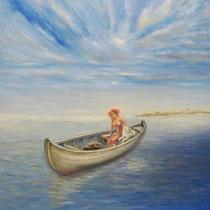 Oil painting of Japanese spitz SIMBA TSAR ZVEREI & his Mom Yuliya Strizhkina by Max Win (Kiev, Ukraine)