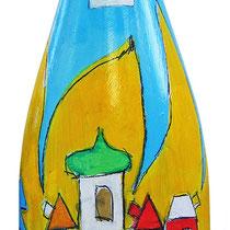 """""""bottiglia di bianco frizzante""""acrilici suvetro con rifinitura a vernice all'acqua"""