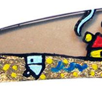 """""""pezzo di vetro"""" acrilico e foglia oro su vetro temperato scuro cm14,5x2,5"""