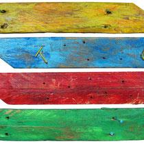 """""""improbabili indicazioni"""" acrilici su legno cm34x44"""