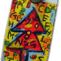 """""""l'Albero delle parole"""" su vivavoce parrot - acrilico e carboncino su foglio di plastica cm11x6"""