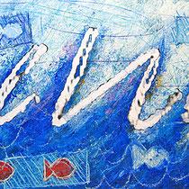 """""""il Mare di Marta"""" acrilico su tavola di legno cm39.5x19.5 - graffio rubato dalla mamma di Marta (2007)"""