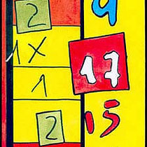 """""""appunti per schedina"""" acrilico su cartoncino cm (misura cartolina) - graffio rubato ad un amico (1996)"""