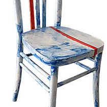 """""""sedia rossa"""" (acrilico su carta di giornale)"""