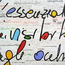 """""""il Muro"""" colori acrilici, matite e carboncino con inserti in carta cm100x80 (2012)"""