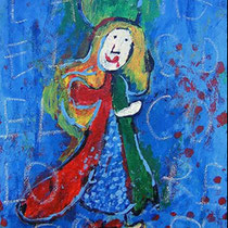 """""""l'Angelo dei Colori"""" acrilico su tela cm30x40 - graffio di bambina rubato da un libro di preghiere - (2006)"""