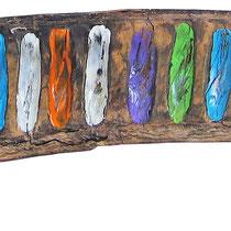 """""""colori su baccello africano""""acrilico e vernice cm27x5"""
