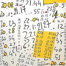 """""""l'attesa di Matteo"""" acrilico e carta su tela cm100x100 (graffi su un """"post-it"""" andato smarrito) - graffio rubato ad un futuro papà (2002)"""
