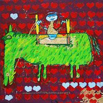 """""""Il Cavalliere albanese"""" acrilico, foglia oro e graffi con gesso su tela cm50x50 (2010)"""