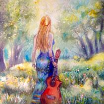 la joueuse de guitare