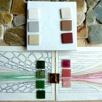 Paysage abstrait  pour baignoire d'angle,       Esquisse et matières