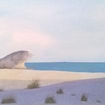 Playa Mónsul, Almería. Acuarela y acrílico sobre papel, 15 x 42 cms.