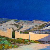 Muralla Jayrán, Almería. Acuarela y acrílico sobre papel, 15 x 42 cms.