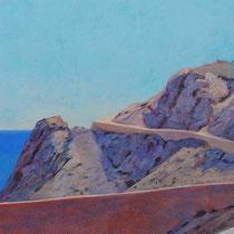 Faro de San Telmo, Almería. Acuarela y acrílico sobre papel, 15 x 42 cms.