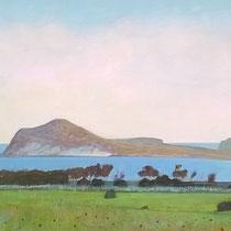 Morrón de los Genoveses, Almería. Acuarela y acrílico sobre papel, 15 x 42 cms.